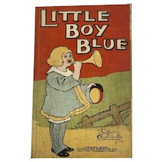 1910 Edwardian Era Children's Book Little Boy Blue Saalfield Muslin Nursery Rhyme