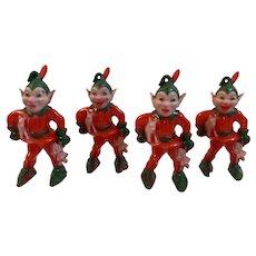 4 Rosbro Christmas Elf Ornaments Elves Hard Plastic Red Green Vintage