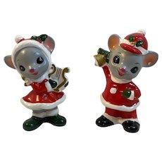 2 Napco Musical Christmas Mice Figurines Musicians Vintage Japan X-8589