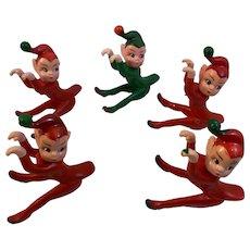 5 Climbing Pixie Elf Elves Hard Rubber Figurines Toys Decorations Stocking Stuffers Vintage Christmas