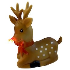 Flashing Light Up Nose Rudolph The Red Nosed Reindeer Vintage Christmas Rubber Battery Operated in Original Box