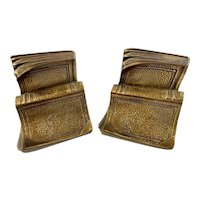 Book Shaped Bookends Cast Metal Gold Colored by Philadelphia Manufacturing USA Ends