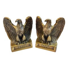 Bicentennial American Eagle Bookends Cast Metal Gold Colored by PM Craftsman Book Ends 1776 Patriotic
