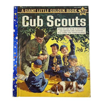 1959 Cub Scouts Giant Little Golden Book First Edition A Printing Mel Crawford Illustrator and Bruce Brian Author