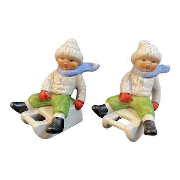 2 Goebel Boy on Sled Christmas Figurines 13904-07 Made in West Germany Sledders