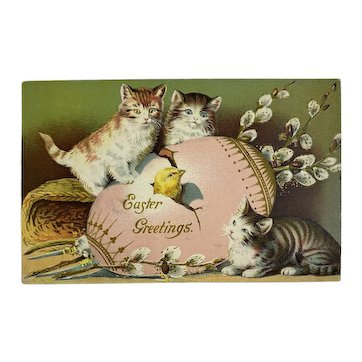 Robbins Brothers Kitty Cat Easter Egg Postcard Embossed Germany Kittens Kitties Pussy Willows Chick Hatching