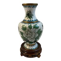 Vintage Cloisonne Vase with Bird and Flowers on Wood Stand