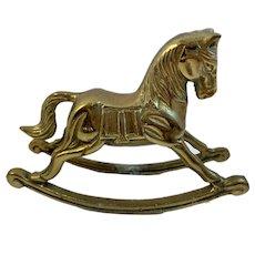 Brass Rocking Horse Paperweight Vintage Decor