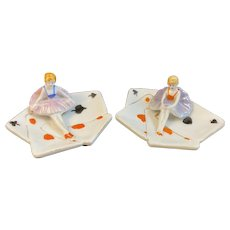 Pair of Art Deco Figural Ballerina on Playing Cards Pin Trinket Dishes Trays Holders