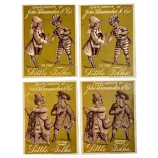 4 Gold Victorian Trade Cards John Wanamaker & Co To the Little Folks So Charming!