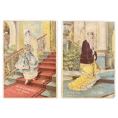 2 Victorian Fashion Advertising Trade Cards J.N. Cloyes Fine Shoes Utica NY