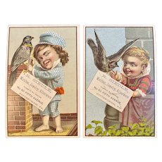 1881 Children and Birds Victorian Trade Cards R Siedle Pittsburgh, PA Jeweler Litho by F A Chapman Series
