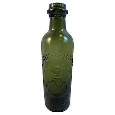 R Stothert & Sons Pictorial Dark Green Bottle Atherton Bust of Man Cannington Shaw & Co Advertising
