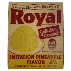 Howdy Doody Royal Gelatin Imitation Pineapple Flavor Box Full Unopened Royal Trading Card Dessert. No 5 Star the Inspector