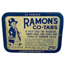 Ramon's Co-Tabs Slide Tin Litho The Little Doctor Medical Advertising 24 Tablets 25 Cents