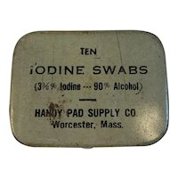 Iodine Swabs Tin from the Handy Pad Supply Co Medical Advertising