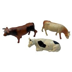 Vintage Cast Metal Cow Figurines with Original Paint Farm Animals