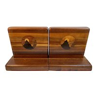 Inlaid Marquetry Wood Bookends Lancaster County, Pennsylvania Folk Art Hand Made Book Ends
