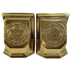 Virginia Metalcrafters Great Seal of the United States of America Solid Brass Bookends Patriotic Book Ends Americana