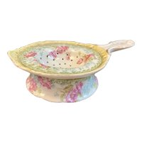 Imperial Crown China Austria Tea Strainer with Drip Bowl Hand Painted Pink Flowers Gold Trim