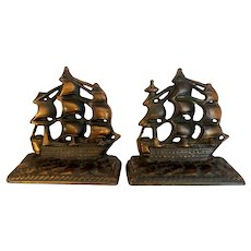 Old Ironsides USS Constitution Ship Bookends Cast Iron with Copper Wash Book Ends Patriotic