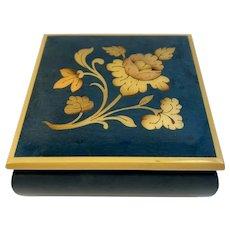 Italian Lacquered Wood Jewelry or Trinket Box Velvet Lined Vintage Vanity