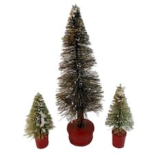 3 Mica Flocked Bottlebrush Trees on Red Wood Bases Bottle Brush Vintage Christmas Putz