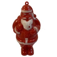 Hard Plastic Santa Candy Container Ornament Vintage Christmas