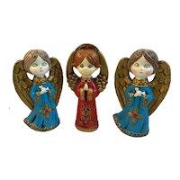 3 Paper Mache Christmas Angels Mid Century Japan MCM Midcentury Modern Vintage