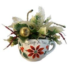 Napco Merry X'Mas Tea Cup Mug with Floral Christmas Decorations Inside Balls Tinsel Sprays Christmas Xmas Holly