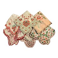 6 Scalloped Hand Rolled Edge Red Pink and White Hankies Floral Flowers Roses Hanky Handkerchief