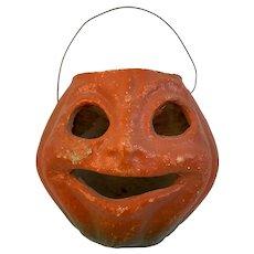 Halloween Jack O'lantern Candy Container Candle Holder Lantern Paper Mache Pulp JOL Pumpkin Two Tone Orange Green