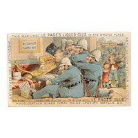Le Page's Liquid Glue Victorian Trade Card 11 Policemen Cops Man Glued to Chair