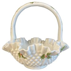 Fenton Hobnail Christmas Holly Milk Glass Footed Basket Artist Signed by Connie Ash Vintage Ruffled Crimped Edge