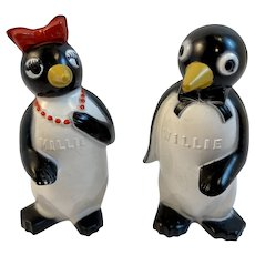 Millie and Willie Penguin F&F Salt and Pepper Shakers F & F Advertising Premiums