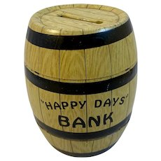 J Chein Tin Litho Happy Days Barrel Bank