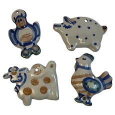 Country Christmas Ornaments MA Hadley Pottery Country Farm Animals Duck Rooster Cow Pig Vintage