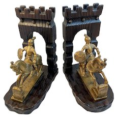 Italian Mid Century Knight Leaving Castle Gate Book Ends Bookends Vintage MCM Midcentury Modern Italy