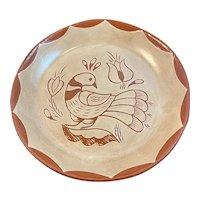 Mary Stoltzfus Redware Pottery Distelfink Shoo-Fly Pie Plate Dish Red Ware Lancaster County Pennsylvania Dutch Folk Art