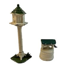 Cast Iron Toy Birdhouse and Wishing Well Dollhouse Vintage Model Railroad Miniatures