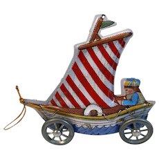 1988 Hallmark Tin Litho Keepsake Ornament Americana Sailboat Car for Christmas