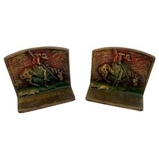 End of Trail Cast Iron Bookends with Original Paint Native American on Horse Book Ends