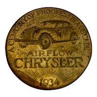 1934 Airflow Chrysler Token Century of Progress In a Decade World's Fair Lucky Piece 10th Anniversary