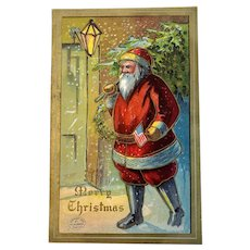 1908 Robbins Santa Claus with American Flag Postcard Embossed Unused Patriotic
