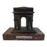 Arc De Triomphe Metal Mid-Century Souvenir Paperweight Statuette Paris France