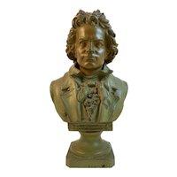 Vintage Cast Metal Beethoven Bust Statue
