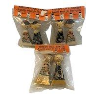3 Piero Kokeshi Doll Eraser Sets In Original Packages Vintage Japan NOS Sealed Never Used Unused