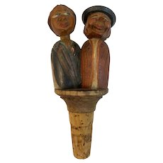 Carved Wood Mechanical Wine Cork Bottle Stopper Kissing Couple Vintage Hand Made Germany Austria ANRI Style Italy