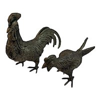 Rooster and Hen Etched Brass Chickens