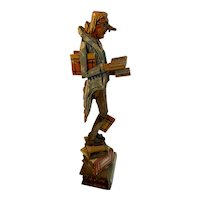 The Bibliophile Carved Wood Man with Many Books German Austrian Italy ANRI